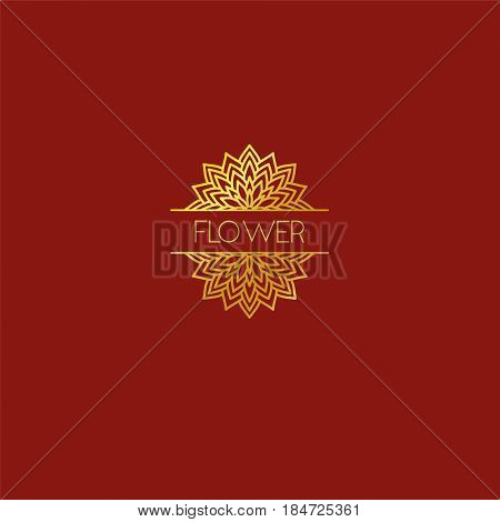 Abstract flower logo icon design. Elegant lotus line symbol. Template for creating unique luxury design logo. Universal premium vector sign. Print gold foil - stock vector