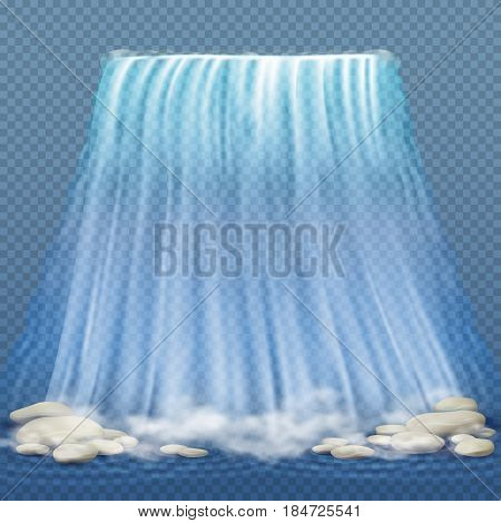 Realistic waterfall with blue clean water and stones, water rapids vector illustration. Realistic nature waterfall with stone, illustration of waterfall clean