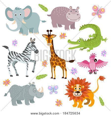 Cartoon cute african savanna animals vector set. Wild animal parrot and hippopotamus, illustration of alligator and giraffe cartoon animal