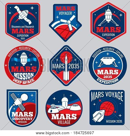 Mars colonization vector retro space logos and labels set. Exploration mars planet logo, emblem travel to mars illustration