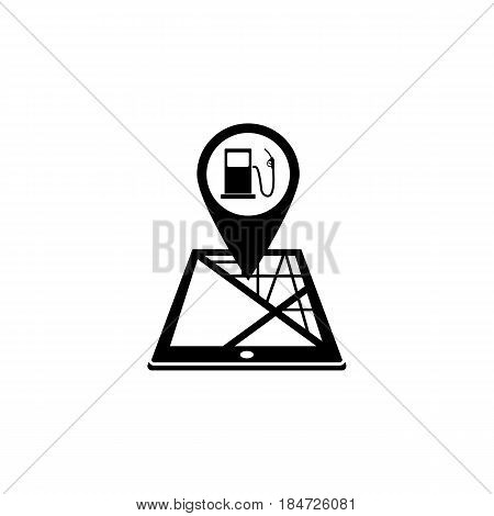 Gas station map pointer solid icon, mobile gps navigation and location, pin on tablet vector graphics, a filled pattern on a white background, eps 10.