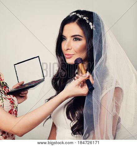 Wedding Stage Makeup. Beautiful Young Woman Fiancee with Bridal Hairstyle Event Makeup and Jewelry