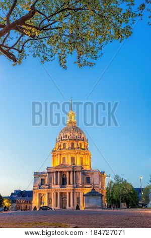 Paris With Les Invalides During Evening, Famous Landmark In France