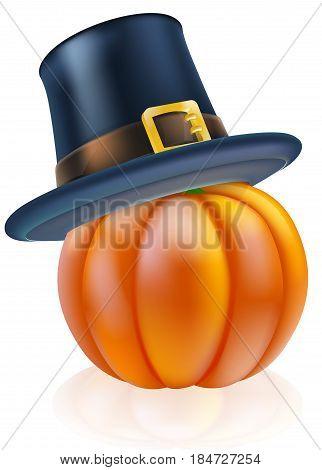 A thanksgiving pumpkin wearing a pilgrim or puritan flat topped hat