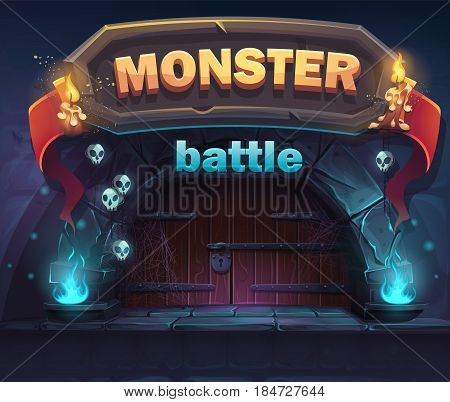 Monster battle GUI boot window. For web video games user interface design