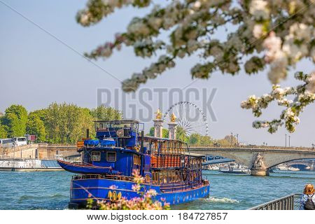 Spring Paris With Boats On Seine In France