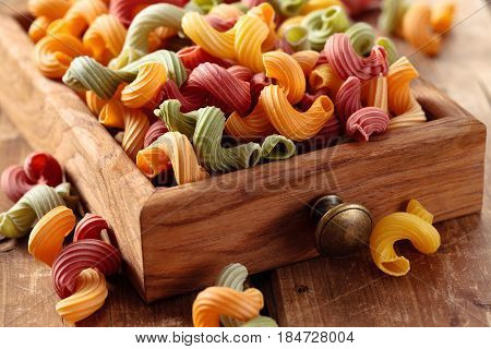 Colorful Italian pasta 'Amore' in small drawer.
