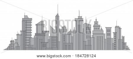 Vector abstract city buildings skyline in gray colors.
