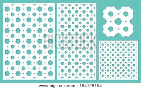 Set decorative panels-laser cutting, wood panel. Geometric repeating pattern. The ratio 2:3, 1:2, 1:1, seamless. Vector illustration.