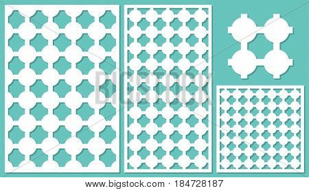 Set decorative panels-laser cutting, wood panel. Round geometric pattern. The ratio 2:3, 1:2, 1:1, seamless. Vector illustration.