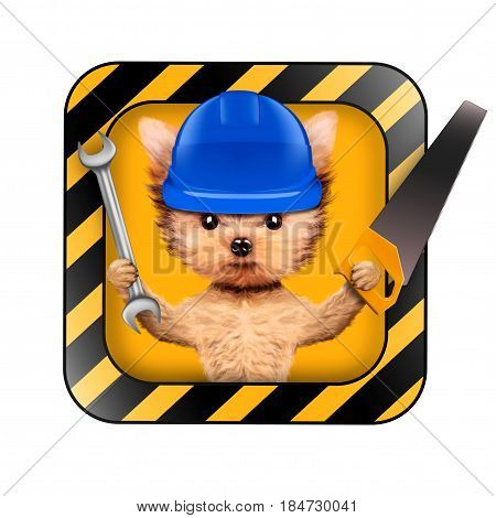 Funny dog with construction tools isolated on white background. Constructor and handyman concept. 3D illustration