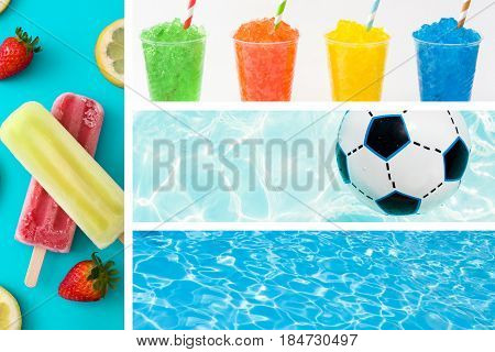 Summer collage with popsicles, slushies, swimming pool and ball
