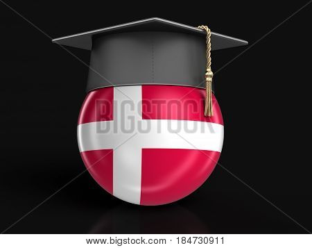3D Illustration. Graduation cap and Danish flag. Image with clipping path