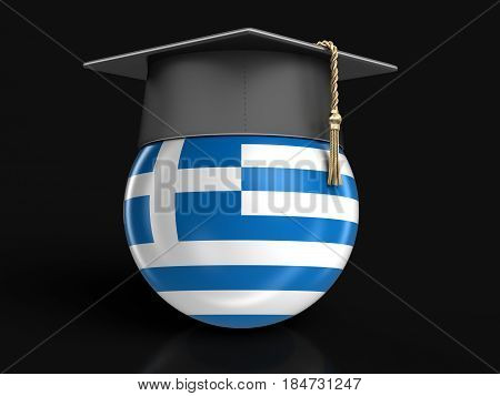 3D Illustration. Graduation cap and Greek flag. Image with clipping path