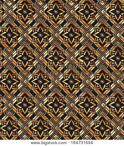 metallic gold pattern on a black background made of geometric elements and iron bronze flower