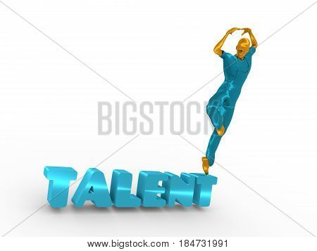 Young man wearing apron. Worker model dancing on the talent text. 3D rendering. Metallic material.
