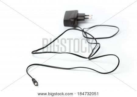 Electric power adapter isolated on white background