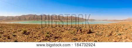 Panoramic view at Al-Hassan Addakhil lake in mountains of Atlas in Morocco