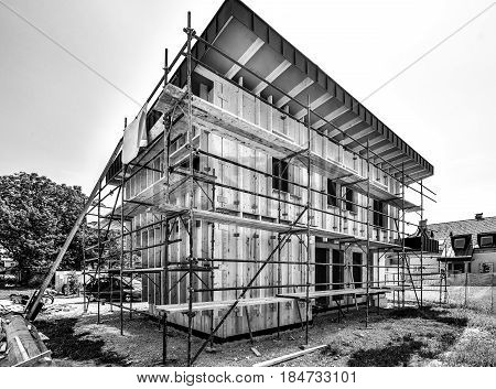 Building Energy Efficient Passive Wooden House.