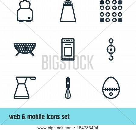 Vector Illustration Of 9 Cooking Icons. Editable Pack Of Cooker, Breakfast, Steelyard And Other Elements.