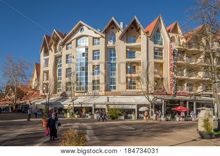 IFRANE, MOROCCO - APRIL 5,2017 - In the streets of Ifrane city in Morocco. Ifrane is a city in the Middle Atlas region of Morocco.