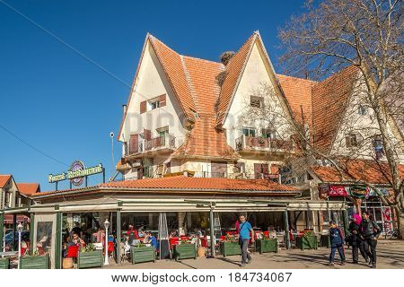 IFRANE ,MOROCCO - APRIL 5,2017 - In the streets of Ifrane city in Morocco. Ifrane is a city in the Middle Atlas region of Morocco.