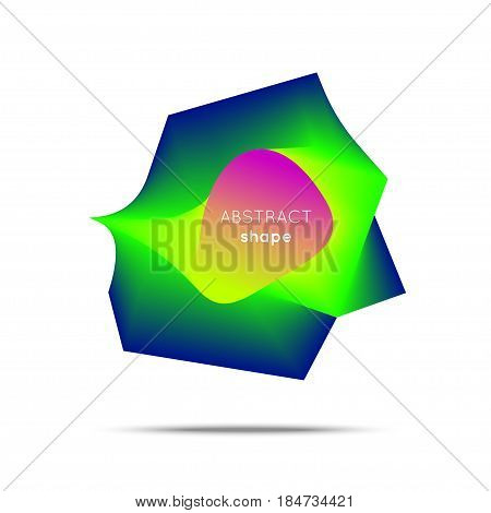 Vector abstract shape. Smooth flow of abstract polygon in a round shape. Flow of bright color. Flayer, poster, logotype design.