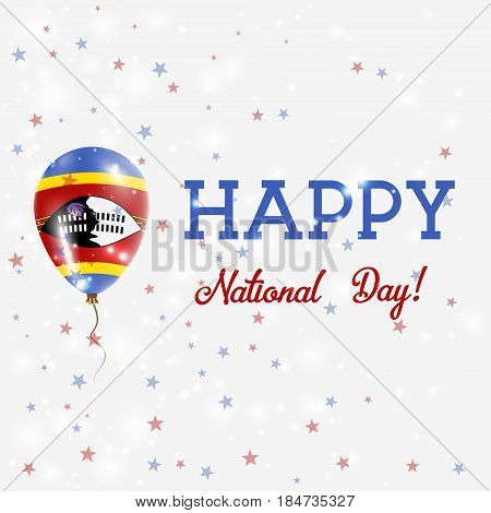 Swaziland National Day Patriotic Poster. Flying Rubber Balloon In Colors Of The Swazi Flag. Swazilan