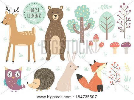 Vector set of cute forest elements - animals and trees. Great for baby shower and kids design. Deer, bear, hedgehog, rabbit, fox, owl, trees and mushrooms