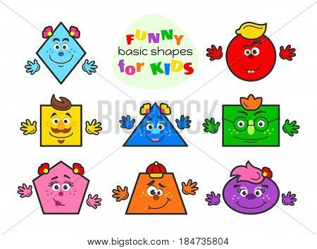 Basic geometric shapes vector illustration for kids. Funny cartoon shapes characters for preschool or primary school children with main colors: blue, green, yellow, pink, orange, violet, red, dark blue. For activities with children