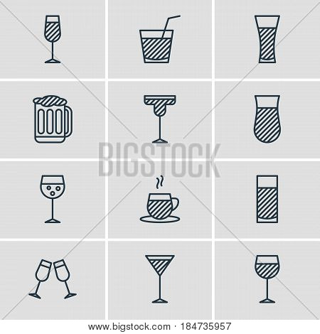 Vector Illustration Of 12 Beverage Icons. Editable Pack Of Glass, Martini, Champagne And Other Elements.