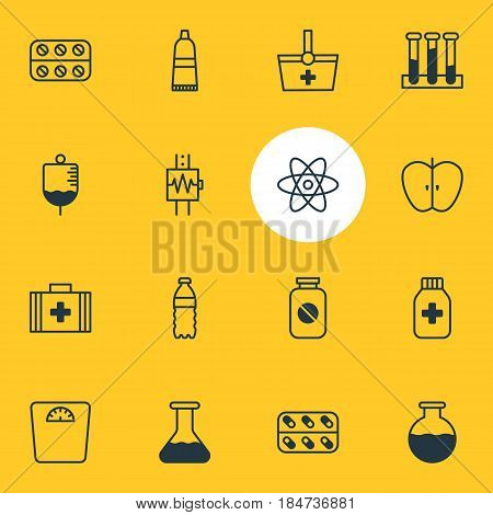 Vector Illustration Of 16 Medicine Icons. Editable Pack Of Basket, Antibody, Fresh Fruit And Other Elements.
