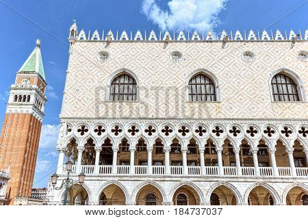 San Marco square in Venezzia, Italy. Facade Palazzo Ducale and St Mark's Campanile The tower of Venetia