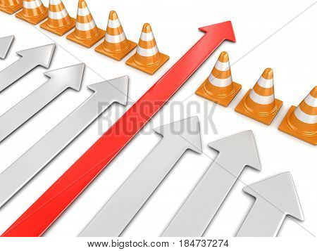3D Illustration. Arrows and traffic cones. Image with clipping path