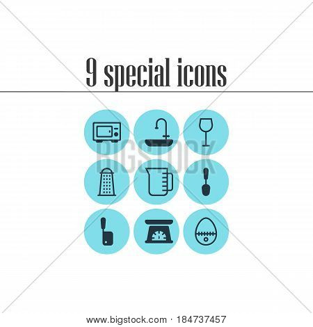 Vector Illustration Of 9 Cooking Icons. Editable Pack Of Washstand, Wine, Measuring Tool Elements.