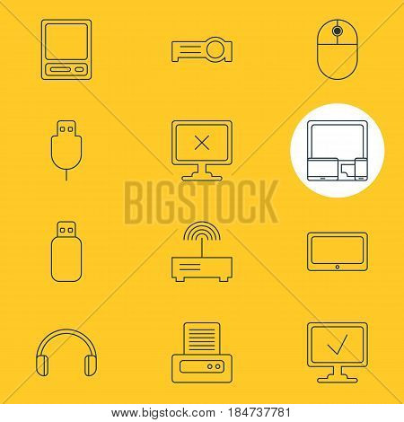 Vector Illustration Of 12 Computer Icons. Editable Pack Of Tablet, Printer, Serial Bus And Other Elements.