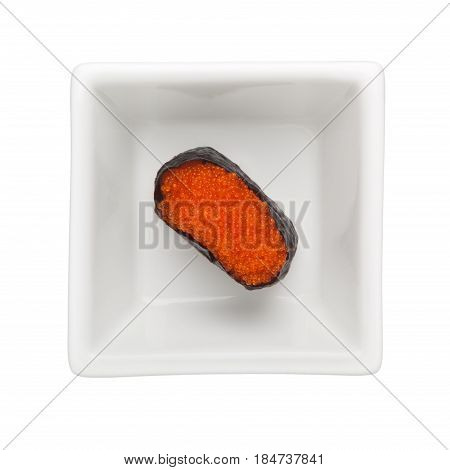 Sushi - Tobiko gunkan in a square bowl isolated on white background