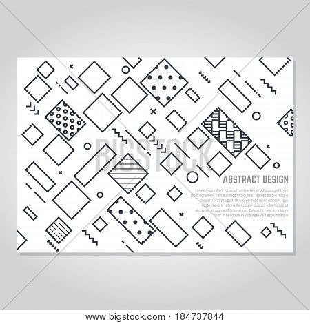 Geometric abstract pattern background. Template for book cover flyer placard magazine or poster A4 format design. Diagonal lines and squares with rectangles. Abstract dots and triangles.