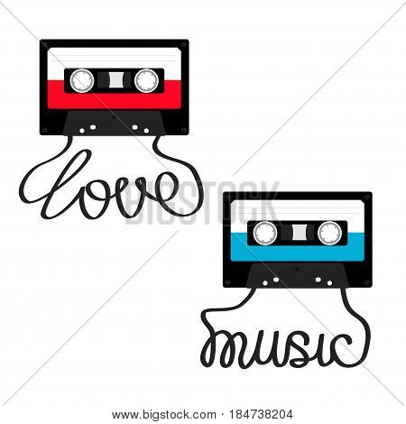 Plastic audio tape cassette with tape word Love Music. Retro icon set. Recording element. 80s 90s years. Red Blue color template. Flat design. White background. Isolated. Vector illustration