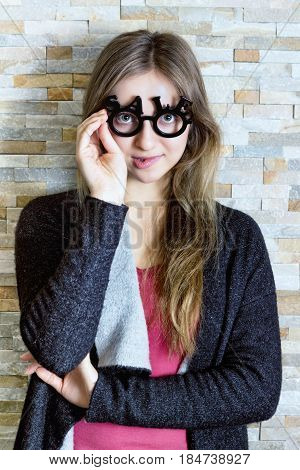 Woman With Glasses Shaped Into Sale Text