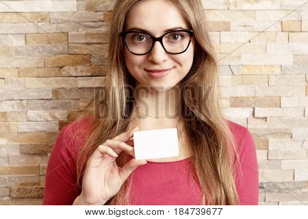Girl With Glasses Showing Blank Business Card