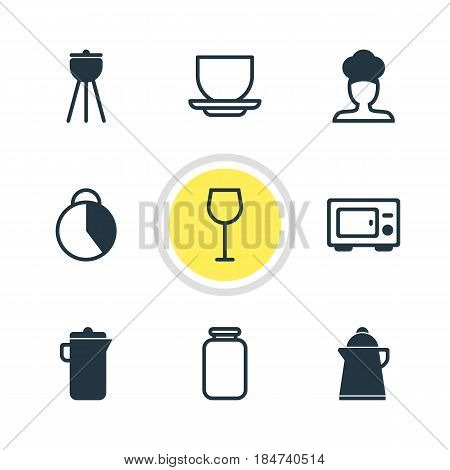Vector Illustration Of 9 Restaurant Icons. Editable Pack Of Can, Wine, Timekeeper And Other Elements.