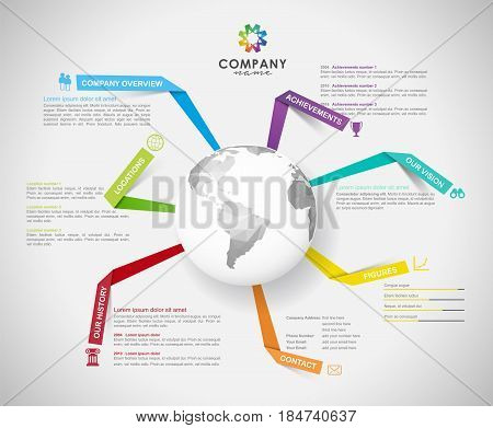 Vector Company infographic overview design template with paper stripes polygonal world and icons - light version.