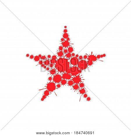 Red blood splash star. Communism symbol. Authoritarian Political regime