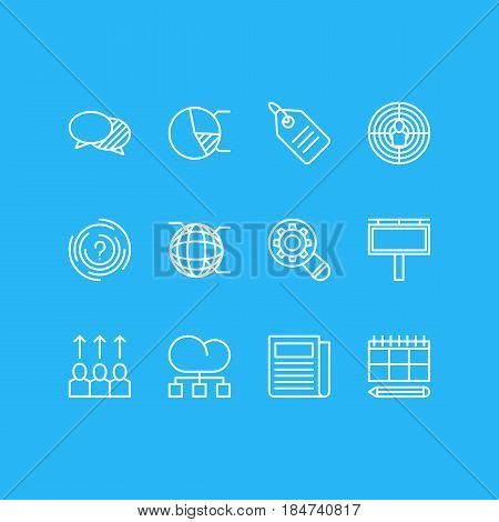 Vector Illustration Of 12 Advertising Icons. Editable Pack Of Advancement, Analysis, Advertising Billboard And Other Elements.