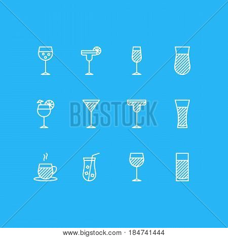 Vector Illustration Of 12 Beverage Icons. Editable Pack Of Tea Cup, Martini, Champagne And Other Elements.