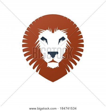 Lion Face Heraldic Animal Element. Heraldic Coat Of Arms Decorative Logo Isolated Vector Illustratio