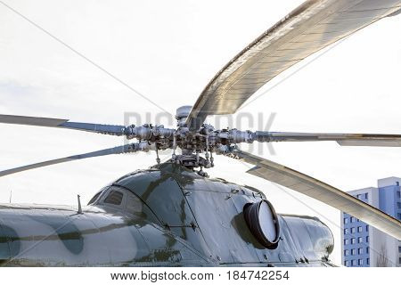 Close Up Of A Helicopter Rotor Hub And Blades