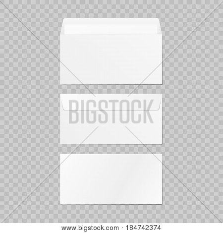 Set of blank 3d envelopes mockup. Collection realistic envelopes template. On background. Vector illustration