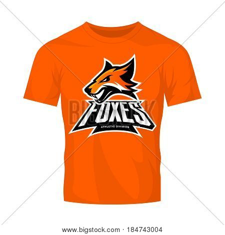 Furious fox sport club vector logo concept isolated on orange t-shirt mockup. Modern professional team badge mascot design. Premium quality wild animal athletic division t-shirt tee print illustration.